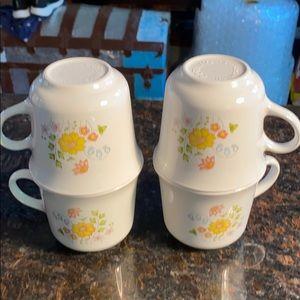 4 Corelle Spring Meadow 8 oz Tea Cups